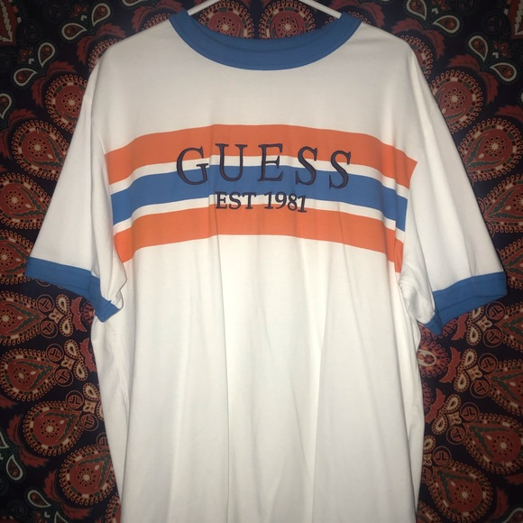 Guess Striped Ringer T shirt